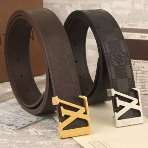 Replica Louis Vuitton Black/Coffee Belts With Gold/Silver Buckle
